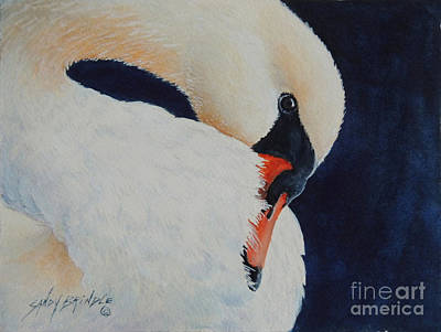 Painting - Preening. Sold  by Sandy Brindle