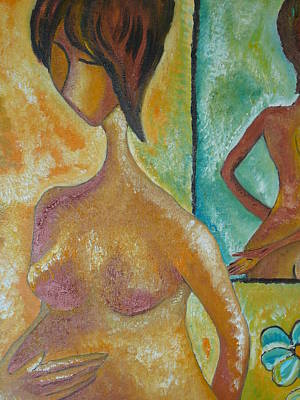Pregnancy Oil Painting Waiting For You Original By Gioia Albano Art Print by Gioia Albano