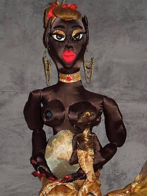African Cloth Doll Sculpture - Pregnant Mermaid Nursing Child by Cassandra George Sturges