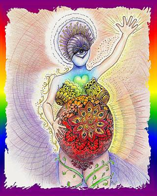 Chakra Rainbow Drawing - Pregnant Potentials by Melinda DeMent
