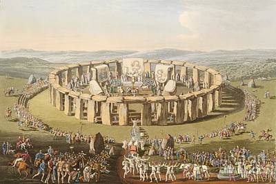 Prehistoric Festival At Stonehenge Print by British Library