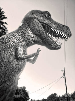 Painting - Prehistoric Gardens -  T- Rex In Black And White by Gregory Dyer
