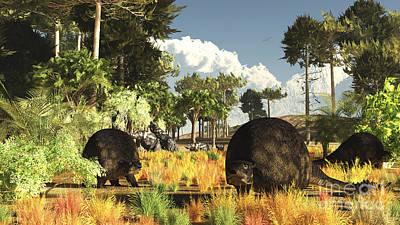 Prehistoric Glyptodonts Graze On Grassy Art Print by Arthur Dorety