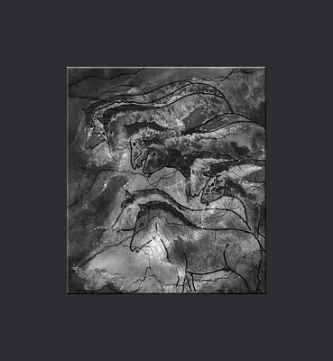 Prehistoric Horses Lascaux Cave Small Blue Grey Border Print by L Brown