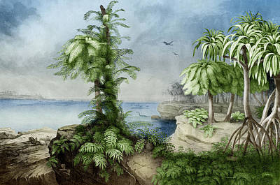 Paleobotanical Photograph - Prehistoric, Jurassic Landscape by Science Source