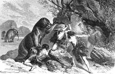 Cave Bear Photograph - Prehistoric Men Battle Cave Bear by British Library