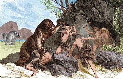 Cave Bear Photograph - Prehistoric Men Battle Cave Bear by Science Source
