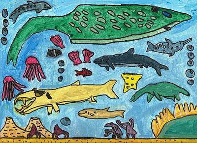 Drucker Painting - Prehistoric Sea by Artists With Autism Inc