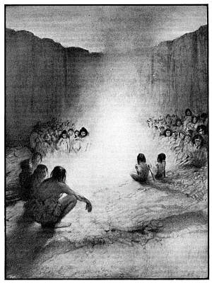 Prehistoric Tribe Around A Fire Art Print by Cci Archives