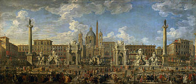 Preparation For The Firework Display Held At Piazza Navona, Rome, To Celebrate The Birth Art Print by Giovanni Paolo Pannini or Panini