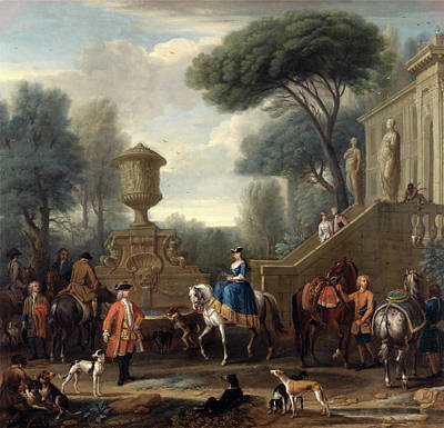 Staircase Painting - Preparing For The Hunt Hunting Party Signed by Litz Collection