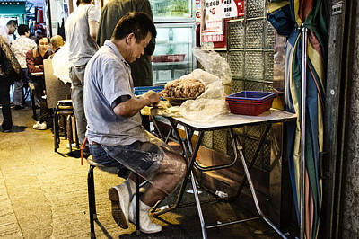 Wan Chai Photograph - Preparing Shrimp Wontons  by Thierry CHRIN