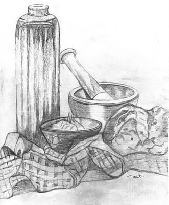 Table Cloth Drawing - Preparing Starter Course by Teresa White