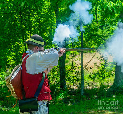 Revolutionary Wars Re-enactment Photograph - Present Aim Fire by Elvis Vaughn