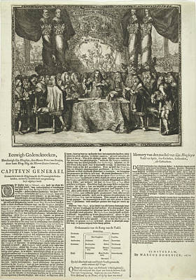 Taking Oath Drawing - Presentation And Description Of The Appointment Of Prince by Frederik Hendrik And Willem Ii And Romeyn De Hooghe