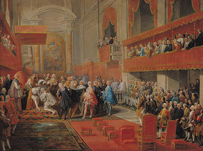 Aristocracy Photograph - Presentation Of The Order Of The Holy Spirit To Prince Vaini By Paul-hippolyte De Beauvillers by Giovanni Paolo Pannini or Panini