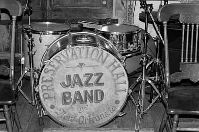 Photograph - Preservation Hall Jazz Band Drum Bw by Bradford Martin