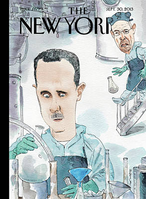 Barry Blitt Painting - President Assad Cooks Up A Chemical Cocktail by Barry Blitt