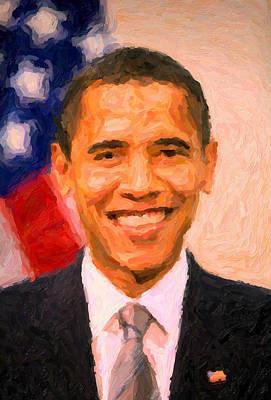 Politicians Paintings - President Barack Obama by Celestial Images