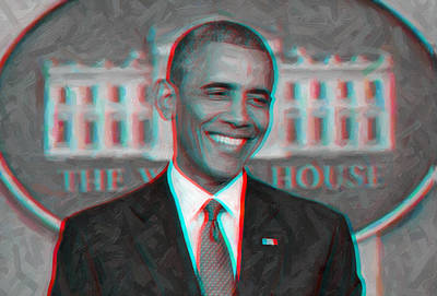 President Barack Obama In 3d Art Print by Celestial Images