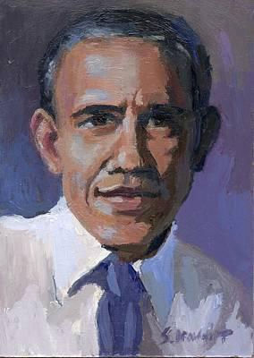 President Barack Obama Art Print by Sara Drought Nebel