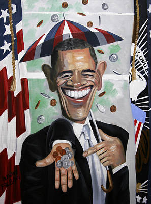 Painting - President Barock Obama Change by Anthony Falbo