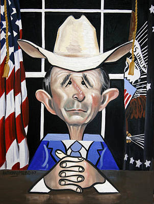 Painting - President George W Bush You Been Cubed by Anthony Falbo