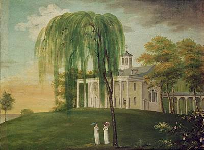 Colonial Architecture Photograph - President George Washington 1732-99 On The Porch Of His House At Mount Vernon Oil On Canvas by American School