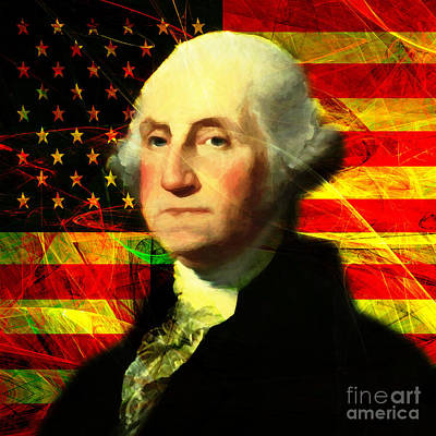 President George Washington V2 Square Art Print by Wingsdomain Art and Photography