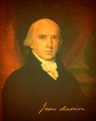 President James Madison Portrait And Signature Art Print