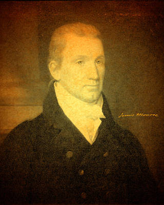 Mixed Media - President James Monroe Portrait And Signature by Design Turnpike