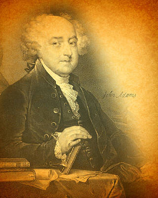 Mixed Media - President John Adams Portrait And Signature by Design Turnpike