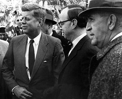 President John F. Kennedy In Group Art Print by Retro Images Archive