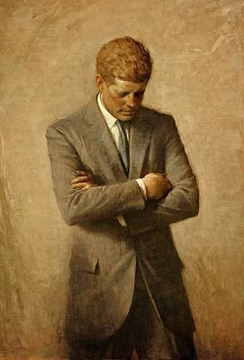 First Lady Painting - President John F. Kennedy Official Portrait By Aaron Shikler by Movie Poster Prints