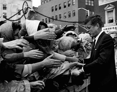 Harvard Photograph - President John F. Kennedy Shaking Hands by Retro Images Archive