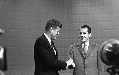 Nixon Photograph - President John Kennedy And President Richard Nixon In The 1960 Debate by Retro Images Archive