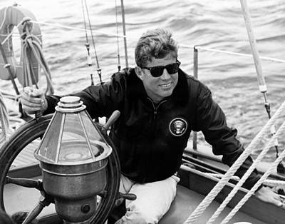 Democrat Photograph - President John Kennedy Sailing by War Is Hell Store