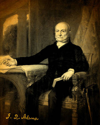 President Adams Mixed Media - President John Quincy Adams Portrait And Signature by Design Turnpike