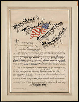 Proclamation Painting - President Lincoln S Emancipation Proclamation by Celestial Images