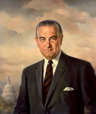 Recently Sold - Landmarks Painting Royalty Free Images - President Lyndon Johnson Painting Royalty-Free Image by War Is Hell Store