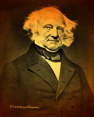 Mixed Media - President Martin Van Buren Portrait And Signature by Design Turnpike