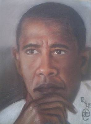 Barrack Obama Pastel - President Obama  by Ronnie Melvin