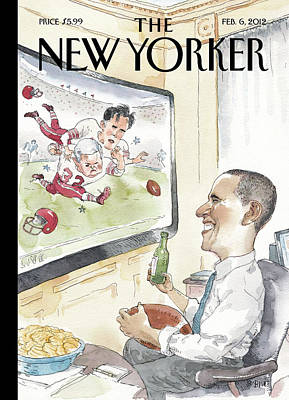 President Obama Watches Football On Tv Art Print by Barry Blitt