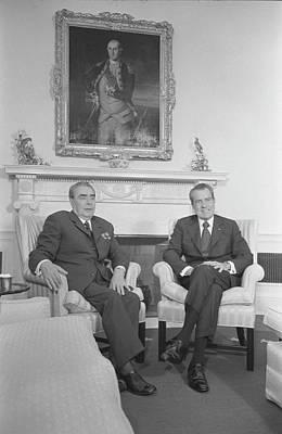 Crossed Legged Painting - President Richard Nixon And Soviet by Stocktrek Images