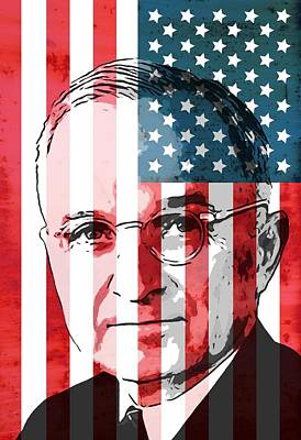 President Mixed Media - President Truman On American Flag by Dan Sproul