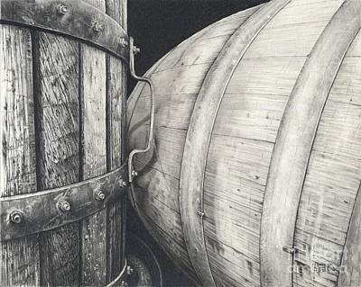 Pinot Noir Drawing - Press To Barrel by Mark Treick