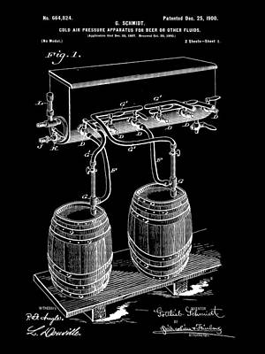 Fermentation Digital Art - Pressure Apparatus For Beer Patent 1897 - Black by Stephen Younts