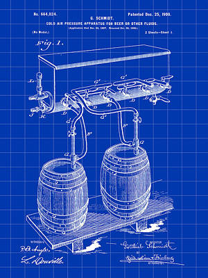 Fermentation Digital Art - Pressure Apparatus For Beer Patent 1897 - Blue by Stephen Younts