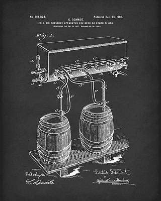 Drawing - Pressure System For Beer 1900 Patent Art Black by Prior Art Design