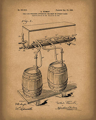 Pressure System For Beer 1900 Patent Art Brown Art Print by Prior Art Design